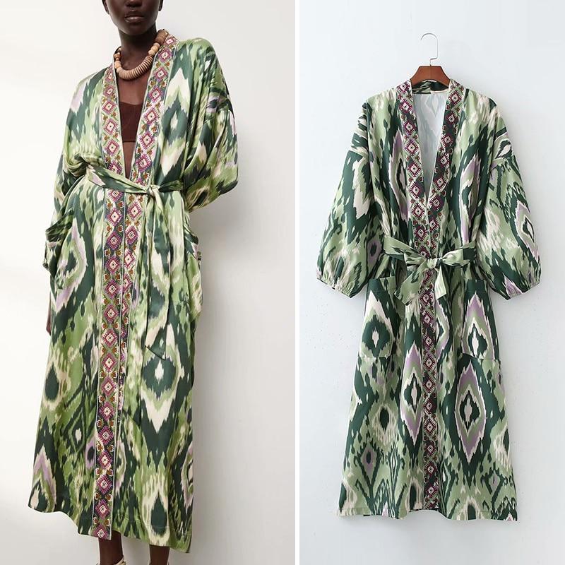 الخريف كيمونو السيدات فستان فستان قطعة واحدة موضة الأزهار طباعة مكتب سيدة حفلة طويلة فتاة أنيقة عادية