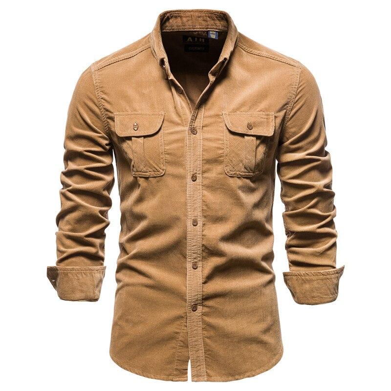 Helisopus однобортная Хлопковая мужская рубашка, осенняя деловая приталенная Вельветовая однотонная мужская рубашка, Camisas Para Hombre
