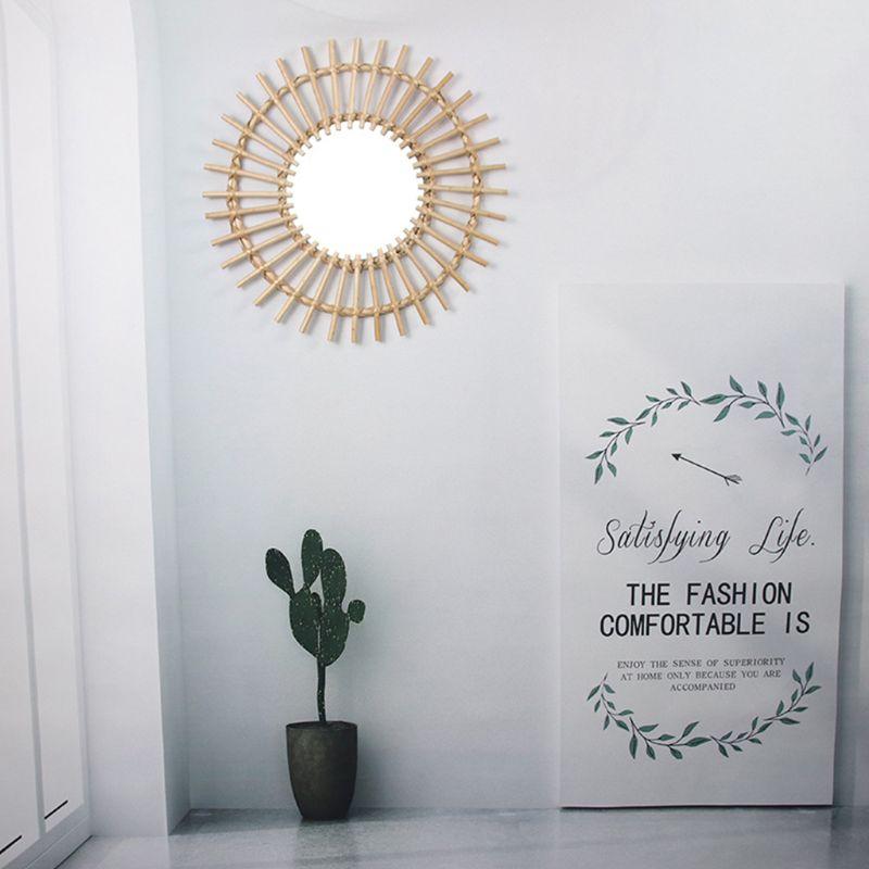 Rattan Innovative Art Decoration Round Makeup Mirror Dressing Bathroom Wall Hang