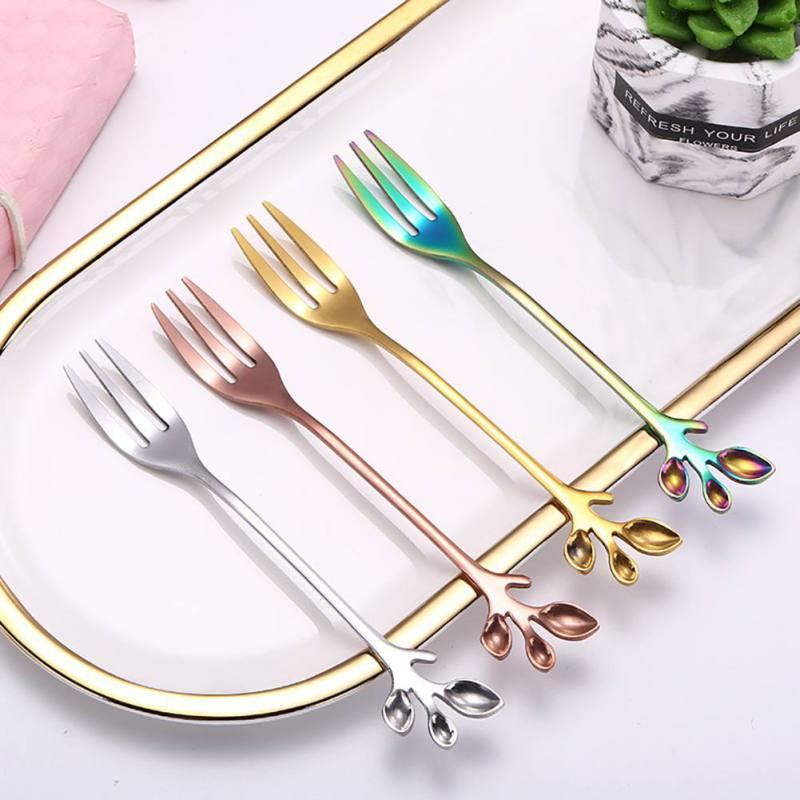 Aço inoxidável conjuntos de louça garfos colher de agitação de café criativo ramo folhas sobremesa colher cozinha jantar tablewarez