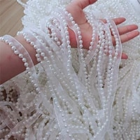 1yards new pleated guipure tulle beaded lace trim wide 1 2cm sewing white lace fabric dress decoration ribbon clothes crafts lq5
