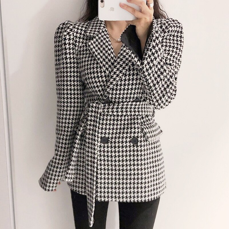 Overcoat Women  Korean Chic Autumn Suit Collar Double Breasted Waist Closing Cuff Fork Thousand Bird