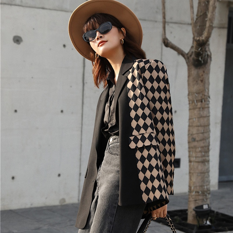 Blazer Feminino Joint Suit Jacket Womens New Style Plaid Suit Loose-Fit Coat Women Autumn and Winter