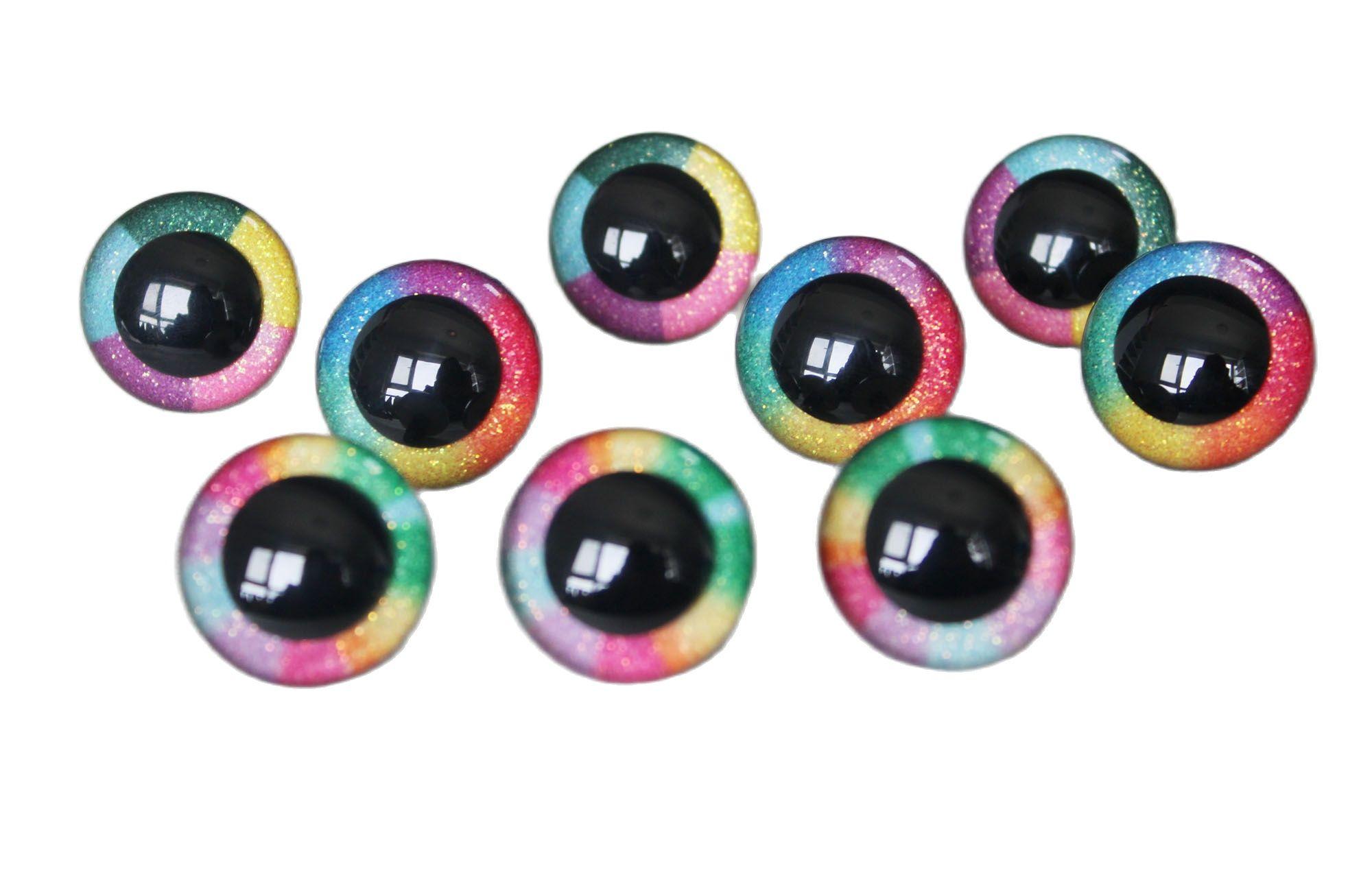 Ojos de arcoíris de 14mm-30mm, brillo redondo claro, Ojos de seguridad, arandela...