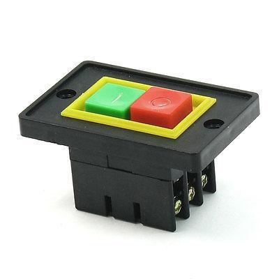 Carcasa de plástico I/O ON/OFF DPDT 6 terminales de tornillo interruptor de botón de empuje AC380V 2KW