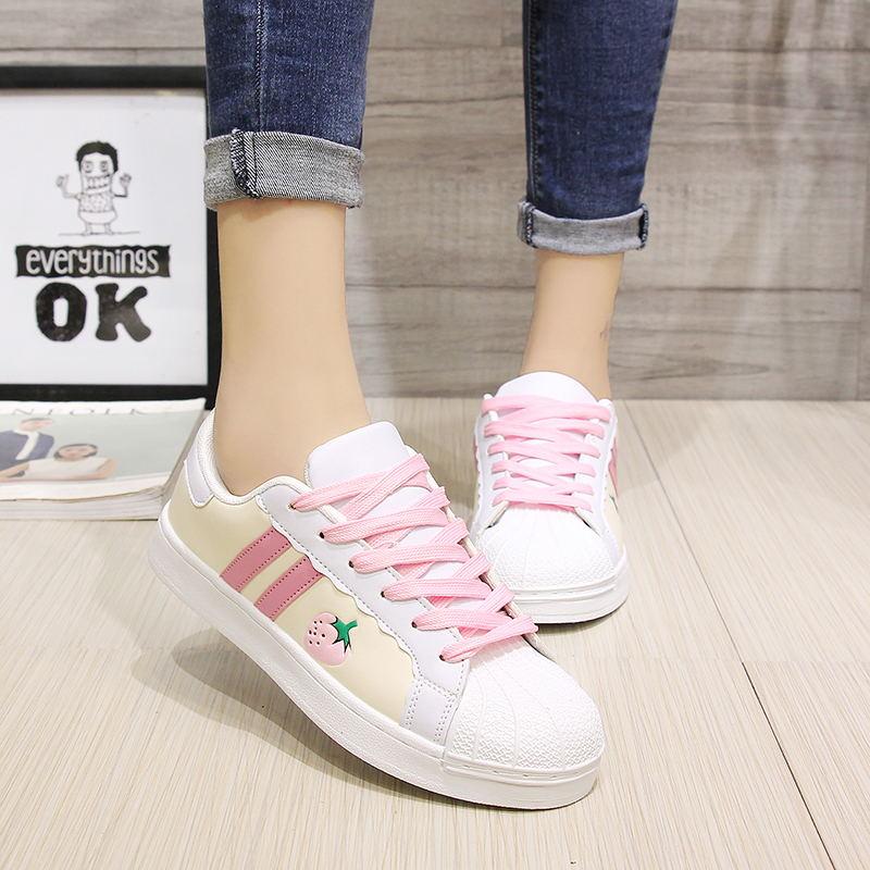Japonês doce lolita sapatos cabeça redonda plana morango placa sapatos kawaii menina tênis kawaii sapatos loli cos