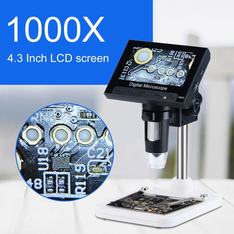 """1000X microscopio Digital cámara de vídeo 720p con pantalla LCD de 4,3 """"y soporte y 8 Led"""