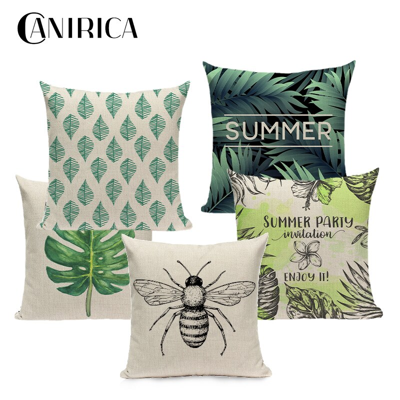 Funda De cojín Tropical, funda De Almohada Verde para sofá, cojines decorativos para habitación, decoración nórdica para el hogar, Fundas De cojín