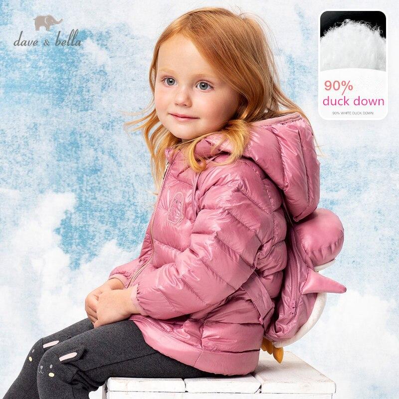 جاكيت شتوي للأطفال DBS15401 dave bella ، معطف كارتون للأطفال ، بطة بيضاء ، جاكيت مبطن مع حقيبة ظهر صغيرة ، 90%