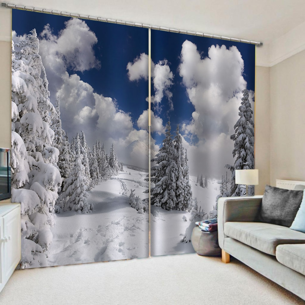 3D Snow Scenery Window Curtain Blackout Shading Curtains For Bedroom Tree Blue Sky White Clouds Painting Curtains Blinds