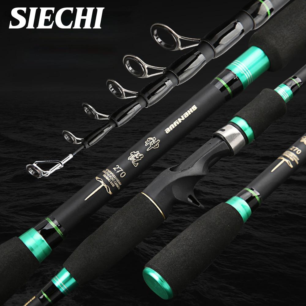SIECHI 2019 1,8 M 2,1 M 2,4 M 2,7 mcarbono caña de pescar telescópica fundición caña de pescar de viaje