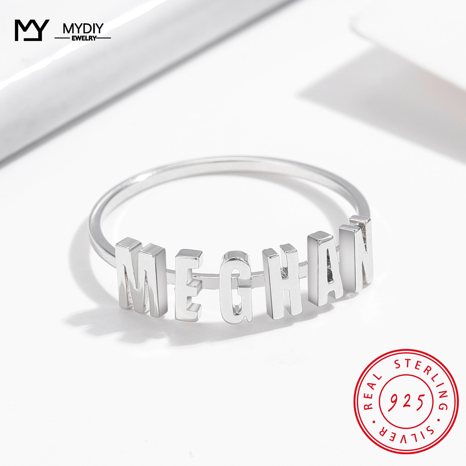 MYDIY Custom Silver Name Ring 925 Sterling Rings Personalized Jewelry Shiny Minimalist Fine 2021 Trend