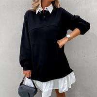 women hoodies spring autumn casual long sleeve loose sweatshirt women winter buttons patchwork woman tops for women long tops