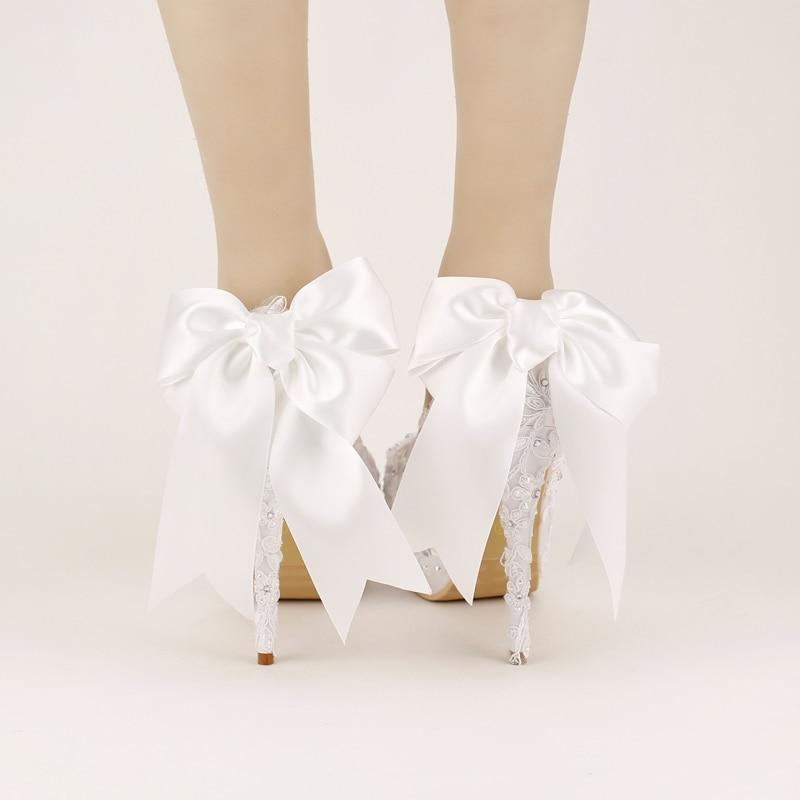 Women Pumps Sweet White Bow Bridal Shoes Super High Heel Shoes Woman Platform Wedding Shoes Lace Single Women's Zapatos De Mujer