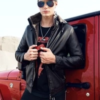brand top fashion jackets new mens hooded casual pu leather jacket fur liner winter warm coat fur hooded parkas motorcycle coats