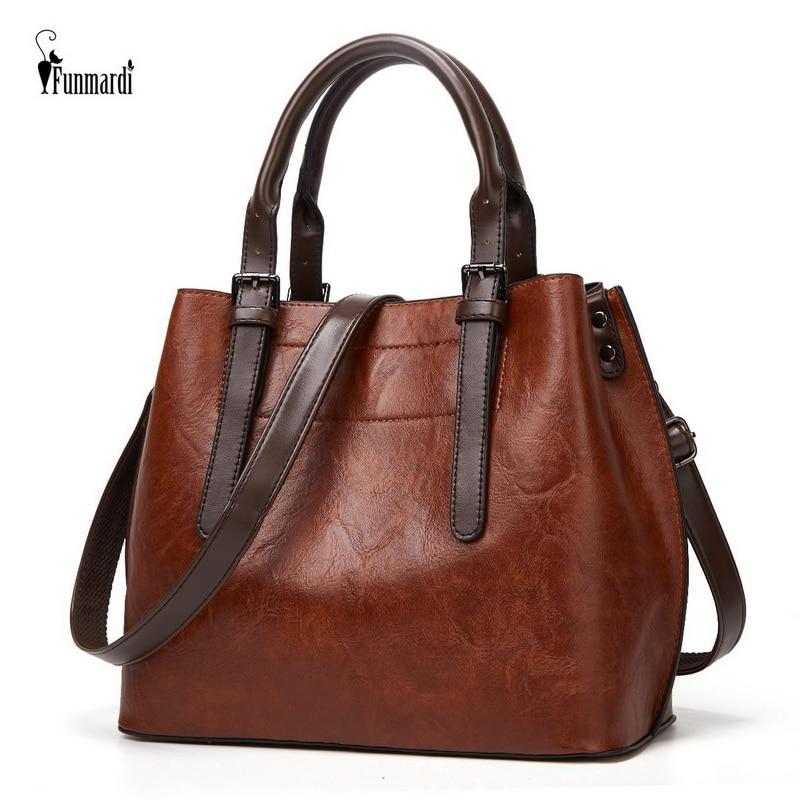 FUNMARDI خمر الاتجاه حقائب اليد الفاخرة حقيبة كتف جلدية PU 2021 جديد الإناث اليد حقيبة العلامة التجارية تصميم المرأة حقيبة WLHB2196