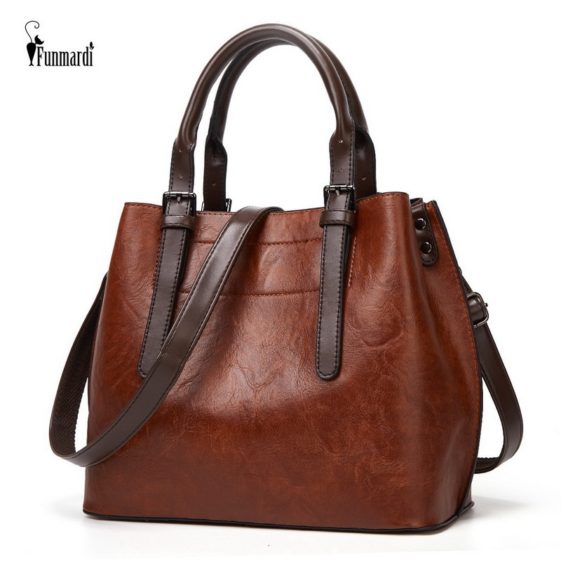 FUNMARDI Vintage Trend Women Handbags Luxury PU Leather Shoulder Bag 2021 New Female Hand Bag Brand Design Women Bag WLHB2196