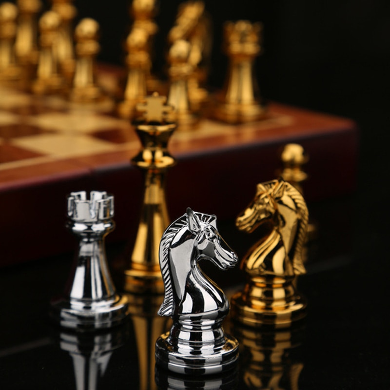 Luxury chess. Metal tools and wooden board. Includes tool placements. Various sizes.