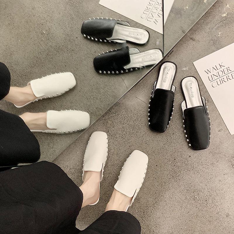 2020 primavera nueva Ins rojo plana salvaje Baotou zapatos Muller desgaste exterior perezosos zapatillas mujer prohibición tuo xie Mujer