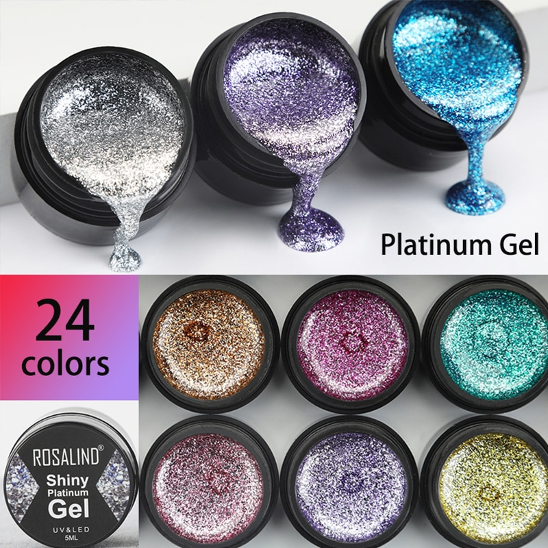 ROSALIND Gel Nail Polish Glitter Paint Hybrid Varnishes Shiny Top Base Coat For Nails Set Semi Permanent For Manicure Nail Art