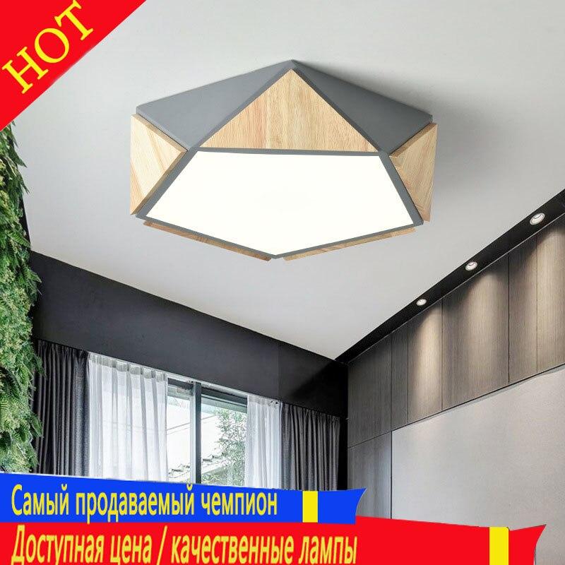 Nordic ins modern log villa hotel geometric ceiling lamp living room study bedroom LED lighting direct sales