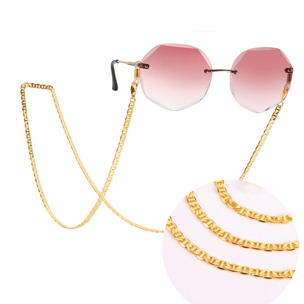Teamer óculos de sol feminino corrente banhado a ouro metal máscara facial cordão de leitura alças pendurado pescoço titular óculos cordões 2021