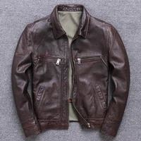 new retro washed first layer thick cowhide genuine leather clothes men s lapel business leather jacket casual top