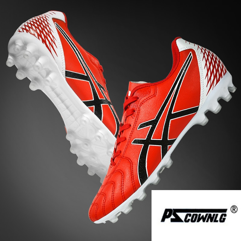 Men Football Boots Soccer Cleats Long Spikes TF Ankle High Top Sneakers Soft Indoor Turf Futsal Shoes