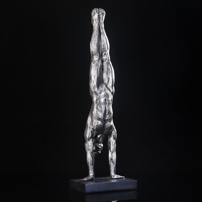 Decoración de personajes, regalo ornamental y accesorios para manualidades, figura de gimnasia para hombre, soporte de manos abstracto de resina, escultura deportiva