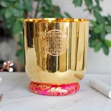 Złoty kryształ misa dźwiękowa z kwiat życia z 4 oktawy uwaga