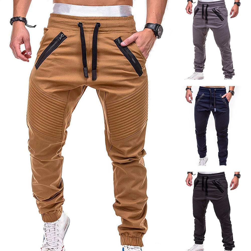 Hot sale solid casual Mens Casual Slim Tracksuit Sports Solid Male Gym Cotton Skinny Joggers Sweat C