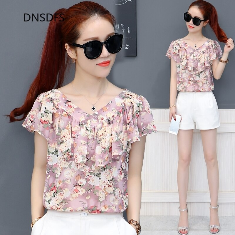 AliExpress - Floral Printed Summer Shirts Office Blouse Women Fashion Short Sleeve Chiffon Shirt Korean Simple V Neck Ruffle Chic Top Female