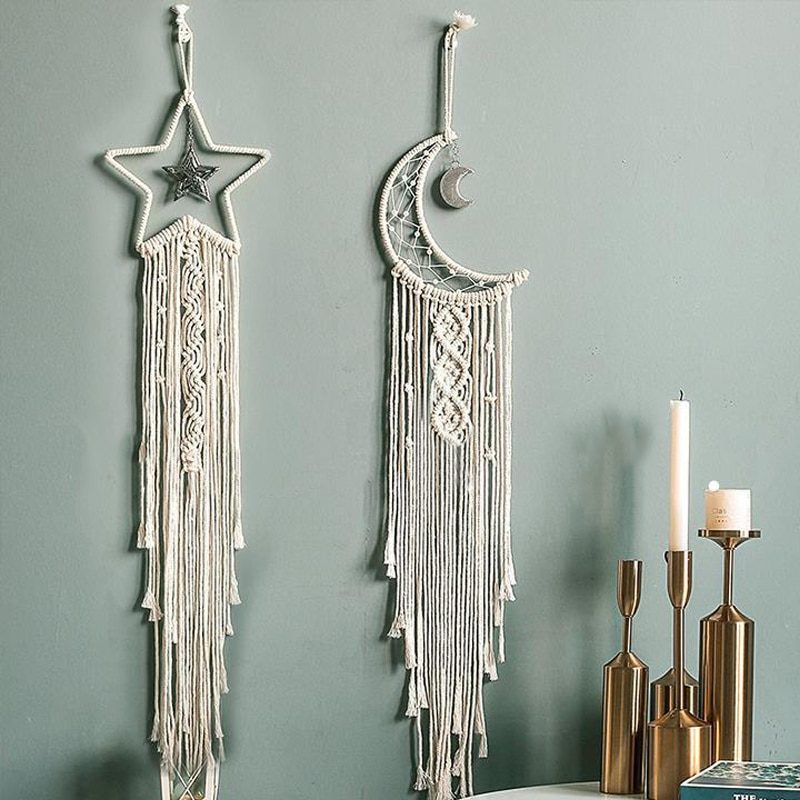 1pc Ins hand-woven Cotton Rope Star Moon Tassel Tapestry Living Room Background Wall Bohemian Wall Hanging Ornaments