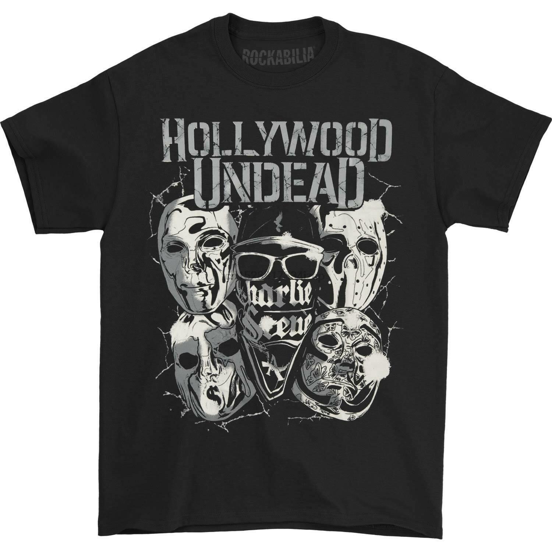 Hollywood Undead Máscaras De Metal T-shirt de Impressão Preto T Shirt Homens Dos Homens Quentes top tee