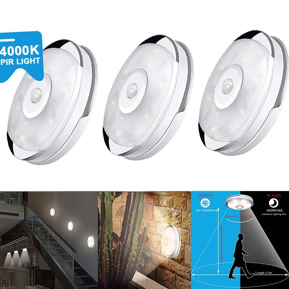 6 stücke Warme Weiß Küche/Schrank Led-leuchten für Schlafzimmer Dekoration PIR Motion Sensor Wand Lampe Zimmer Closet Batterie LED Puck Licht