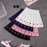 women 2020 summer pleated skirts harajuku fashion high waist pleated love embroidery skirt woman heart a line mini skirts