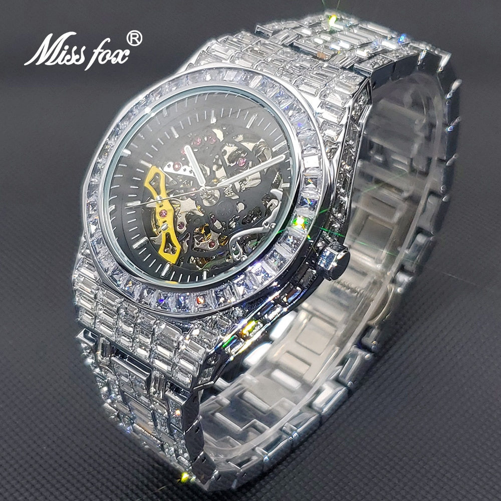 MISSFOX Hip Hop Automatic Watch For Men Luxury Ice Out Japan Movt Clock Fashion Stainless Steel Mechanical Watch With  Diamond