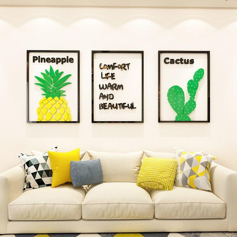 Pequeño marco de fotos de ins fresco pintura acrílico 3d estéreo pared pegar sala de estar sofá Fondo comedor dormitorio auto-Pegar