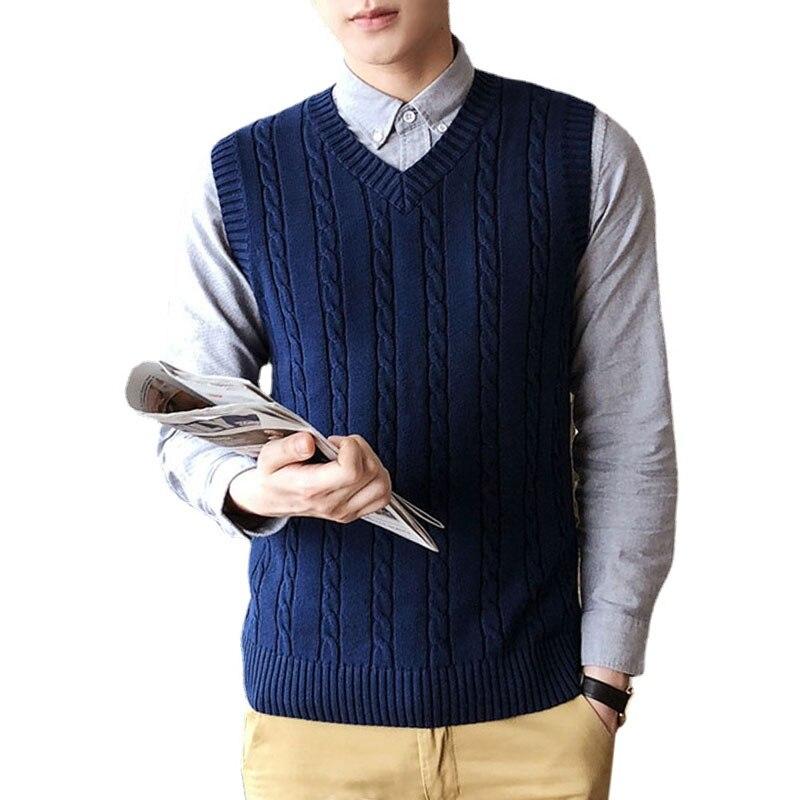 Mens Sweater Vest Men Gilet Homme Vintage Korean Vest Knit Vest Mens Vest Chandail Homme Pull Sans Manche Homme Casual Comfort