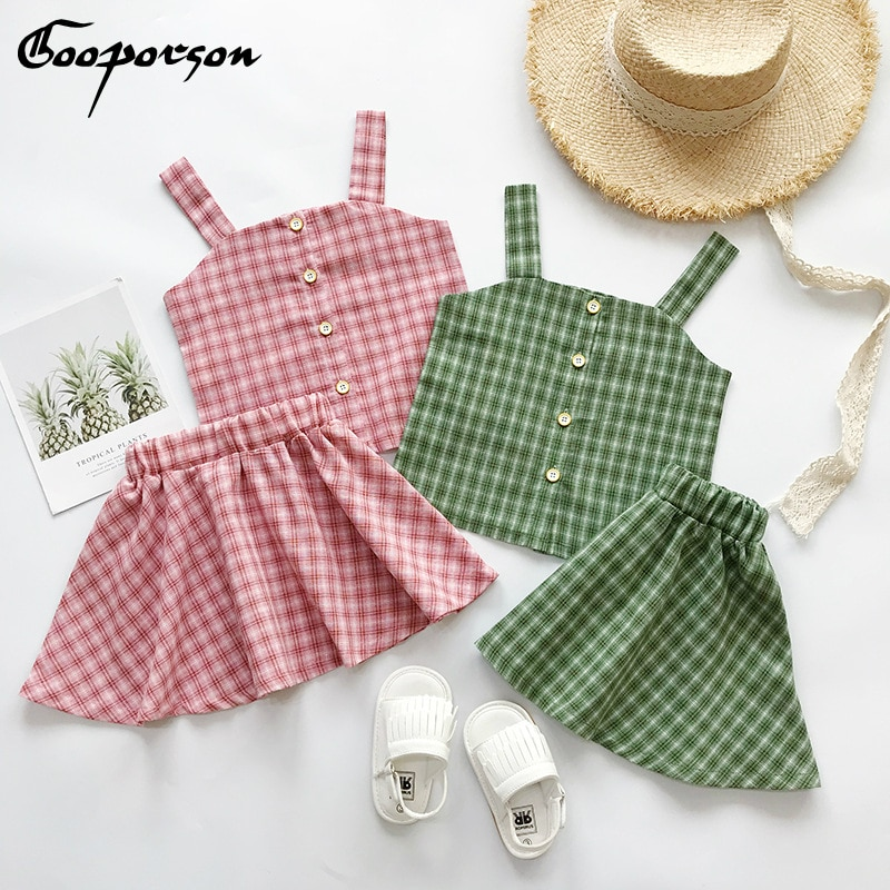 Conjunto de dos piezas de Top y falda Casual a cuadros, verde/rosa para niñas, conjunto de ropa de verano 2019, traje sin mangas para niños