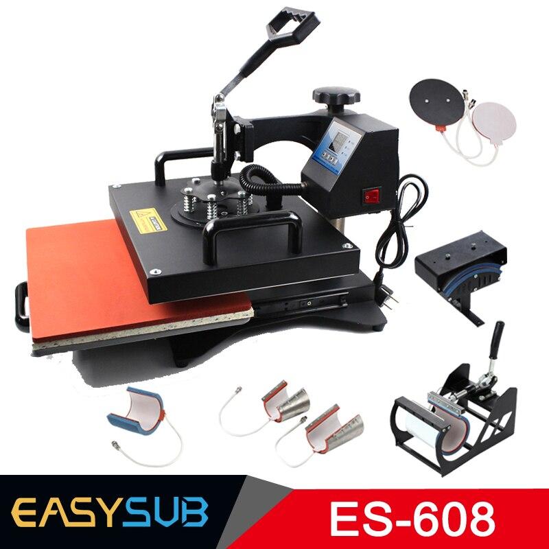 المتقدمة تصميم جديد 8 في 1 كومبو الحرارة الصحافة آلة ، التسامي طابعة الطباعة ل القدح/كاب/T قميص/الهاتف حالات