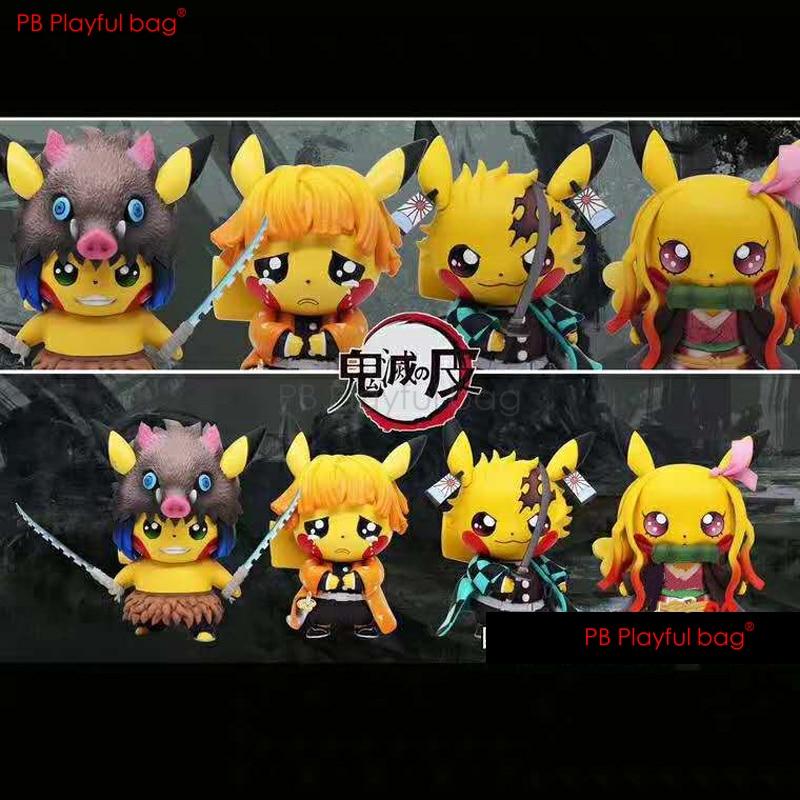 Saco brincalhão 10cm pvc demônio slayer cosplay pikachu figura novidade 2020 collectible modelo brinquedos nova figura de ação melhores presentes hf09