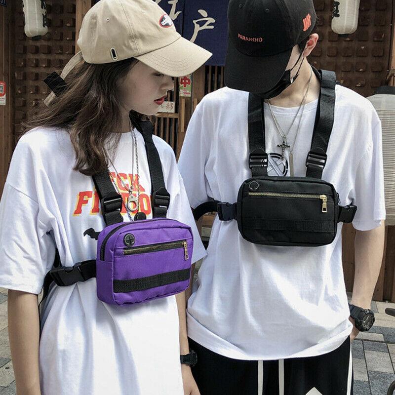 Chaleco de moda mochila multifunción pecho plataforma cremallera cintura bolsas Streetwear Hip Hop portátil táctico arnés pecho bolsa de almacenamiento