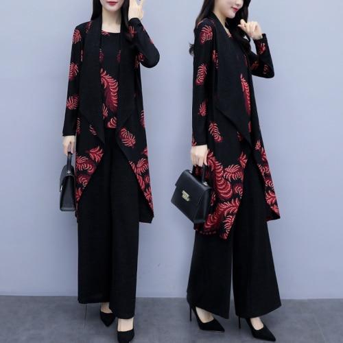 Lady 3 Piece Set 2019 Spring Autumn Women's Tank + Cardigan Long Sleeve Tops +Wide Leg Pants Trousers Suits Female Plus Size