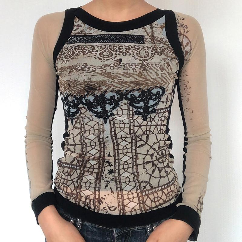 WeiYao Vintage Print Crop Top Women Mesh Patchwork Long Sleeve T Shirt Aesthetic Graphic Tee Streetwear Goth Grunge Fairycore недорого