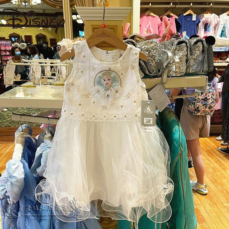 Disney Park Frozen Elsa Elsa Cartoon Cute Children's Dress Princess Dress white skirt Cartoon Knee-Length Ball Gown