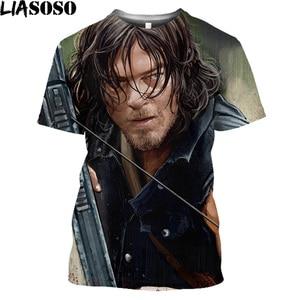 LIASOSO Daryl Dixon T Shirt For Men The Walking Dead Oversize Tee Shirt Halloween Horror Zombie Movie Summer Harajuku Shirt