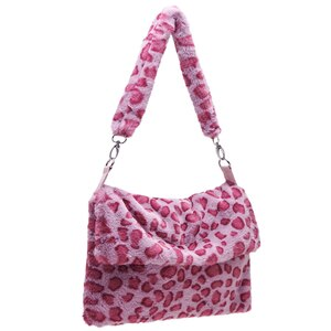 Fashion Leopard Print Casual Crossbody Bag Women Plush Soft Casual Shoulder Messenger Bag 2020 Fluffy Female Handbag