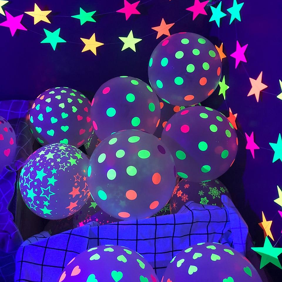 Точка неоновые шарики УФ черный светильник реактивной вечерние баллоны светится в темноте гирлянды на свадьбу и день рождения флуоресцент...