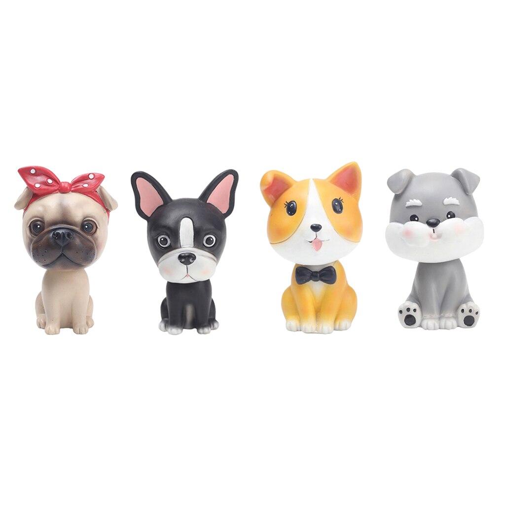 Desenhos animados bonito cão carro cabeça agitando boneca bulldog painel do carro mesa decoração para casa escritório exibição crianças presentes